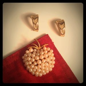 Vintage Clip on Earrings and Apple Pin Bundle